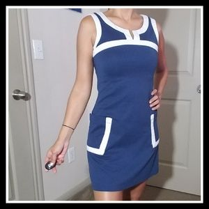 Dresses & Skirts - 💚 Blue and White Contrast Dress Used Condition